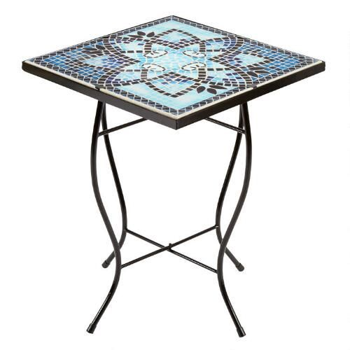 "One of my favorite discoveries at ChristmasTreeShops.com: 16"" Blue Petal Mosaic Square Table"