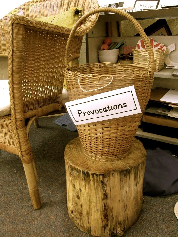 A basket of intentional provocations! We love this idea for extra scaffolding at Scotch College, Adelaide ≈≈ http://www.pinterest.com/kinderooacademy/provocations-inspiring-classrooms/