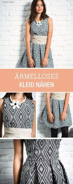 Kleider nähen: Kostenlose Nähanleitung für ein ärmelloses Cocktailkleid / diy sewing tutorial for midi cocktail dress via http://DaWanda.com