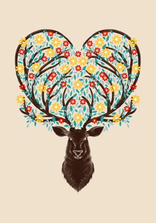 Poster Blooming Deer do Studio Tobefonseca por R$45,00