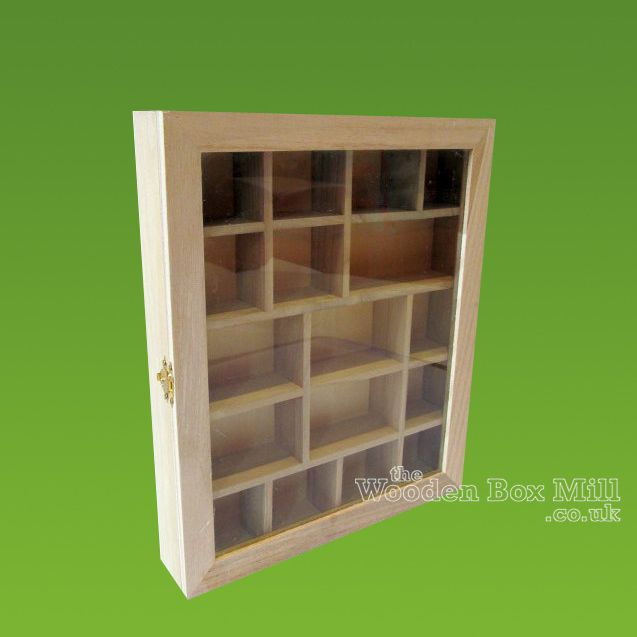 Wooden Glass Fronted Shadow Display Box With Compartments U0026 Hinged Door    Wooden Display Or Shadow Boxes   Plain Wooden Boxes