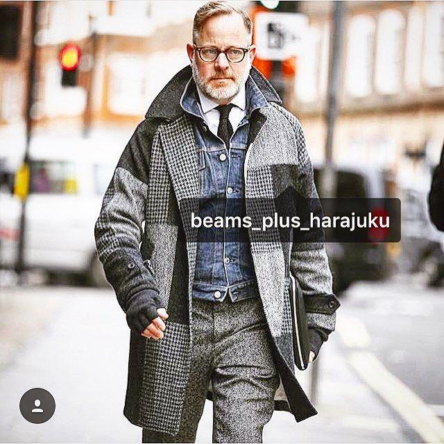 Mr.BRUCE PASK IS MEN'S FASHION DIRECTOR from BERGDORF GOODMAN. HE WEARING OUR BEAMS+plus patch worked Harris Tweeds COAT. So Cool!! #beamsplus #bergdorfgoodman #myfavorite