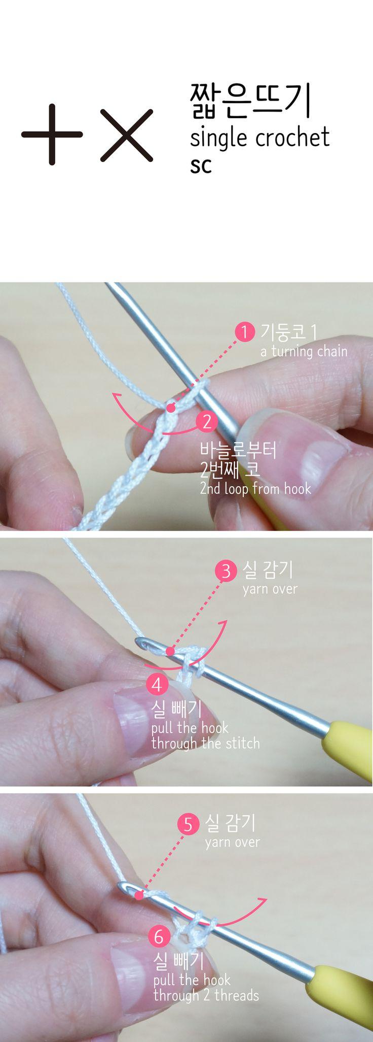 기본스티치 2. 짧은뜨기(single crochet/sc) : 사슬 1개만큼의 높이를 가진 첫번째 스티치. 바구니나 가방,...