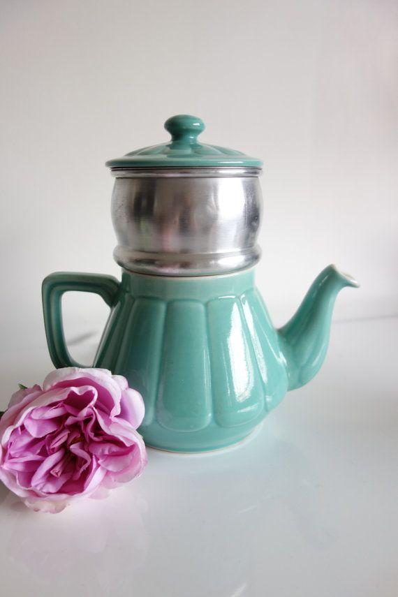 Ancien Pot à café français  1940  Turquoise par ByLiloudeValois