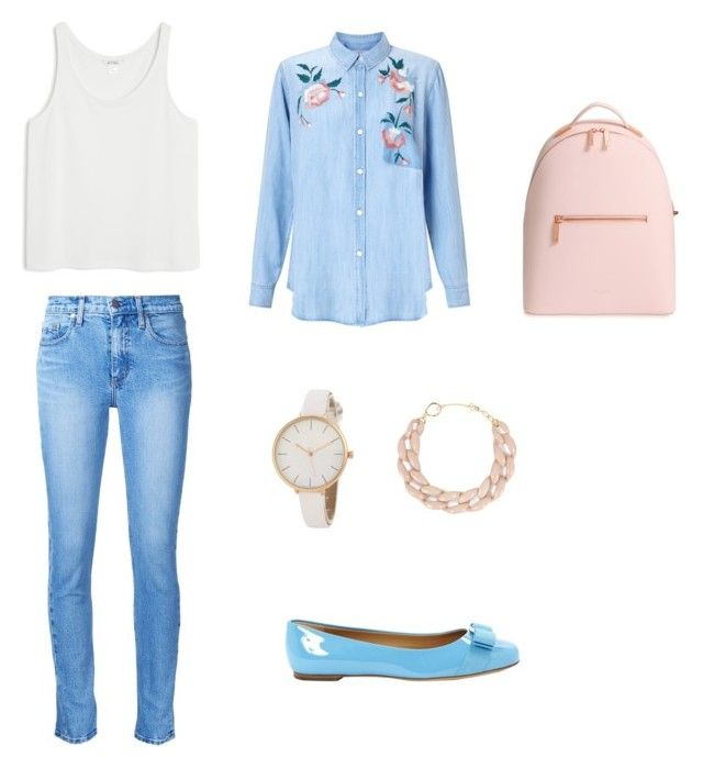 """Work set"" by phystehgirl on Polyvore featuring мода, Rails, Monki, DIANA BROUSSARD, Ted Baker, Nobody Denim и Salvatore Ferragamo"