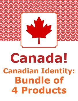 Bundle of 4 Canadian Identity products - Symbols of Canada, Canada's Landmarks, General Knowledge Quizzes about Canada, and a set of 14 reading passages with activities about Canada, the provinces, and territories.