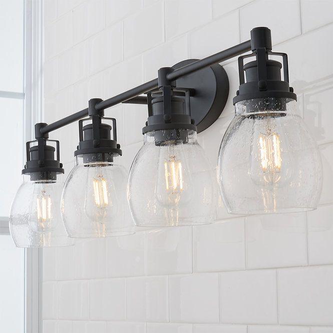 Soft Seeded Vanity Light 4 Light In 2021 Vanity Lighting Rustic Bathroom Lighting Bathroom Vanity Lighting Matte black bathroom light fixtures