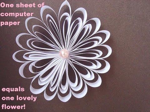 One sheet of computer paper = one lovely flower or medallion..This can be a Christmas ornament or a snowflake..Use colored or patterned paper and see what you come up with..