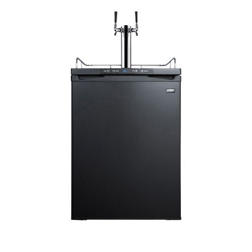 Commercial Built-In Dual Faucet Full Size Beer Kegerator - Black Door