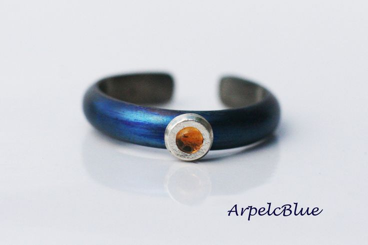 Blue titanium ring with yellow citrine, November from Arpelc Blue Titanium Jewelry by DaWanda.com