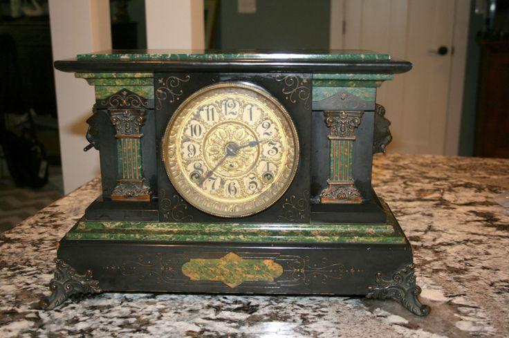 Antique Seth Thomas Lion Head Mantle Clock//1880 Adamantine Green Copper Pillars//Antique Mantle Clock by TresorsJeAmour on Etsy https://www.etsy.com/listing/462388302/antique-seth-thomas-lion-head-mantle