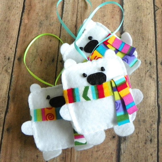 Felt Polar Bear Christmas Ornament by PaisleyMoose on Etsy