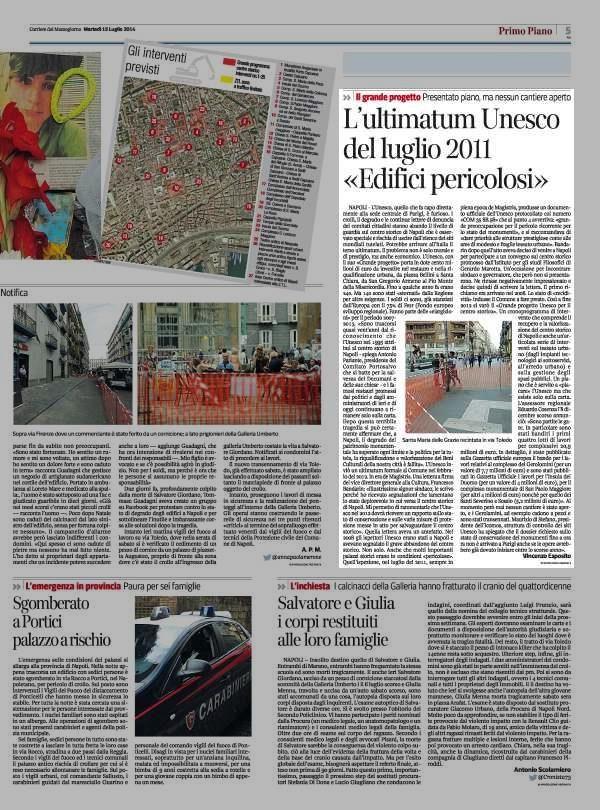 L' ultimatum Unesco del luglio 2011 «Edifici pericolosi»