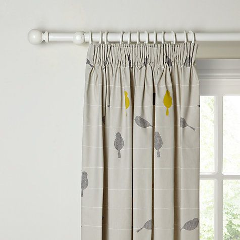 Buy John Lewis Bird on a Wire Lined Pencil Pleat Curtains, Sulphur Online at johnlewis.com