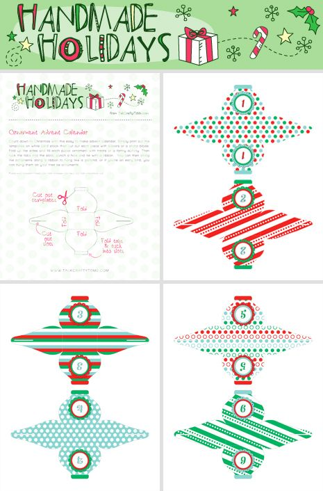 Advent Calendar Diy Template : Free diy printable christmas ornament advent calendar