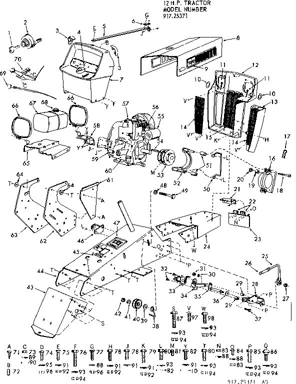 CRAFTSMAN suburban 12 hp tractor Wiring diagram Parts