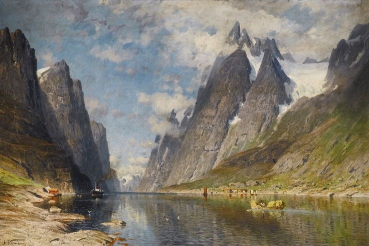 ADELSTEEN NORMANN NORWEGIAN 1848 - 1918 A NORWEGIAN FJORD (POSSIBLY THE SOGNEFJORD):
