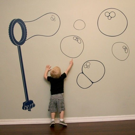 Bubble Wand Wall Decal Extra Large by lewasdesigns on Etsy, $60.00