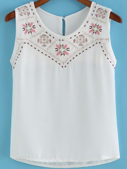 Top cuello redondo bordado tirante -blanco-Spanish SheIn(Sheinside)