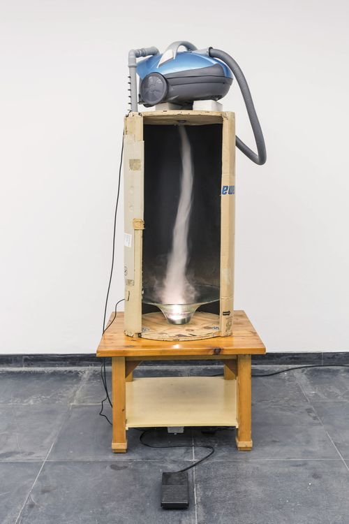 Klaus Weber, Basteltornado, 2007 Vacuum cleaner, table, cardboard, distilled water, fittings 219 x 72 x 72 cm / 86.2 x 28.3 x 28.3 in