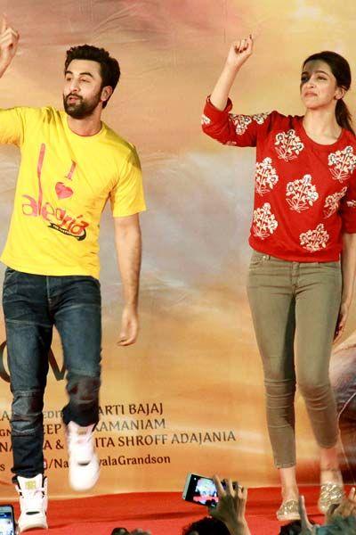 Ranbir Kapoor and Deepika Padukone during 'Tamasha' promotions in Pillai college