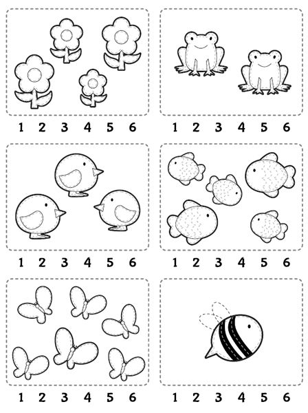 Counting Worksheet: Count and encircle the correct number.  //  Ficha para…