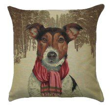 Jack Russell With Scarf Belgian Tapestry Dog Cushions