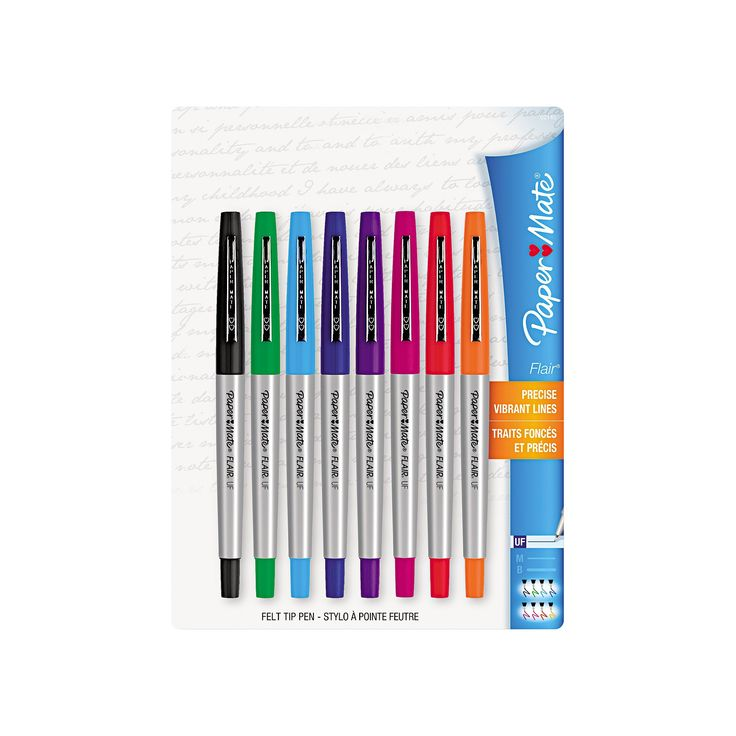 Paper Mate Flair Porous Point Stick Liquid Pen, Assorted Ink, Ultra Fine, 8/St,