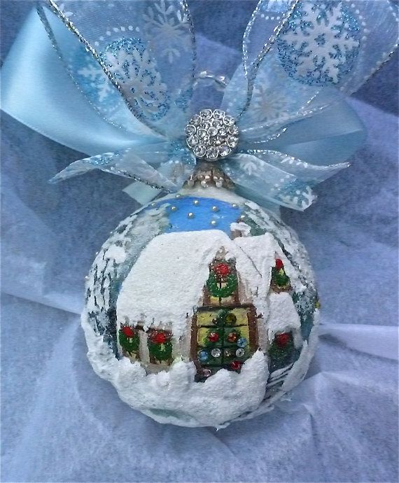 Winter Scene Hand Painted Glass Ornament di KARCREATIONS su Etsy, $49.00