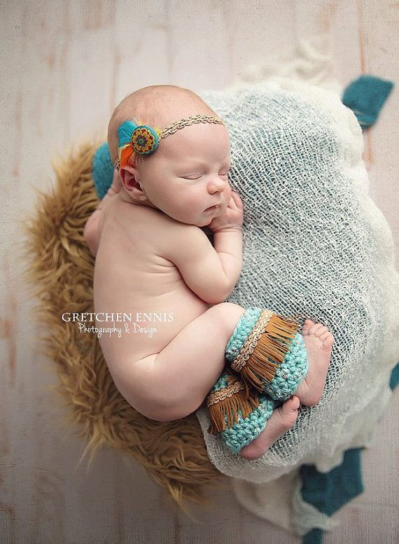 Newborn aqua and gold native american inspired legwarmer and headband set