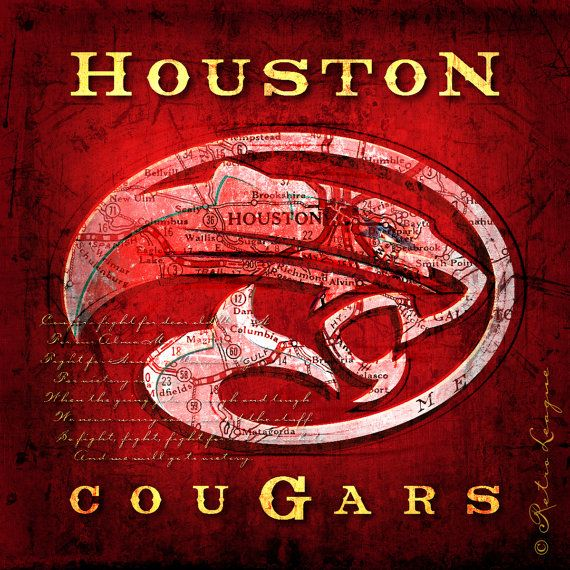 Houston Cougars Map with Fight Song $25 - Perfect Birthday, Anniversary, Alumni or Dorm Gift for your Cougars Fan - Unframed Print
