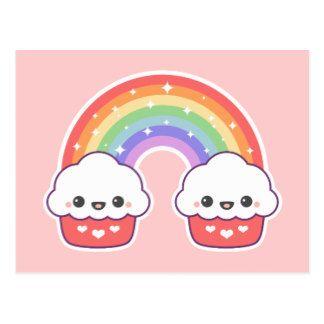 Arco-íris do cupcake de Kawaii Cartão Postal