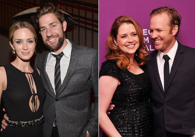 John Krasinski and Jenna Fischer with their real life spouses. Yes, Emily Blunt, big movie star, etc. Jenna's husband's is Lee Kirk. Notice how they look wrong with these people because they are Jim and Pam. Always.