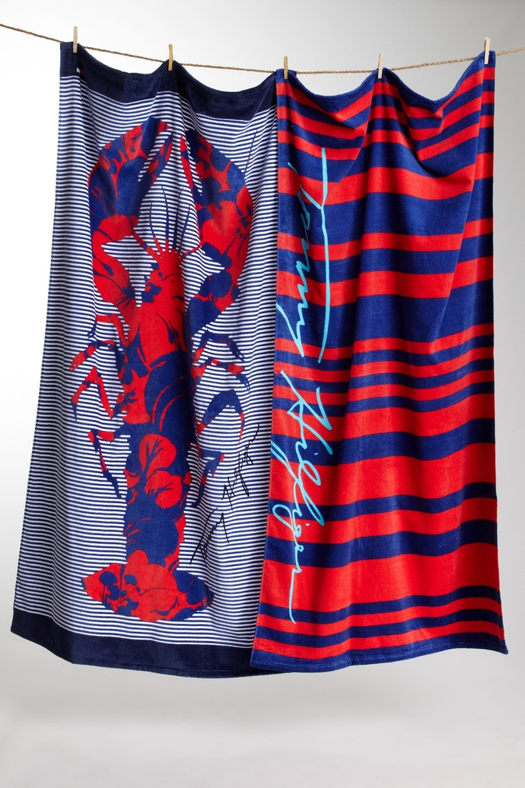 Stripe and Hibiscus Lobster Beach Towels