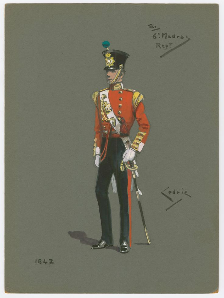 6th Madras Infantry, European Officer(pompom indicates either the officer was from the Light Company or the 6th were a Light Infantry regiment) 1842 by Gerald C Hudson