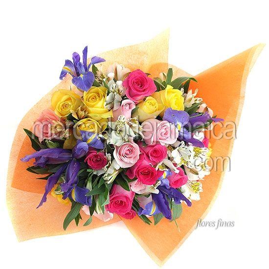 Florerias en Polanco Ramo Rosas Fucsia e Iris Toledo Billy !| Envia Flores