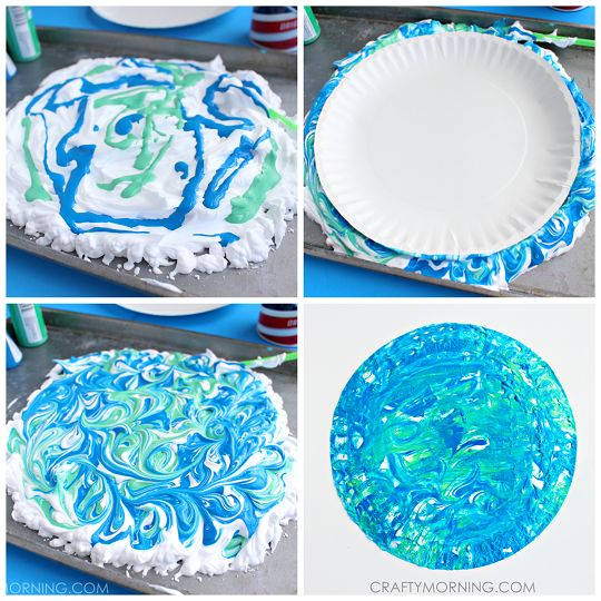 Shaving Cream Marbled Earth Day Kids Craft - Crafty Morning