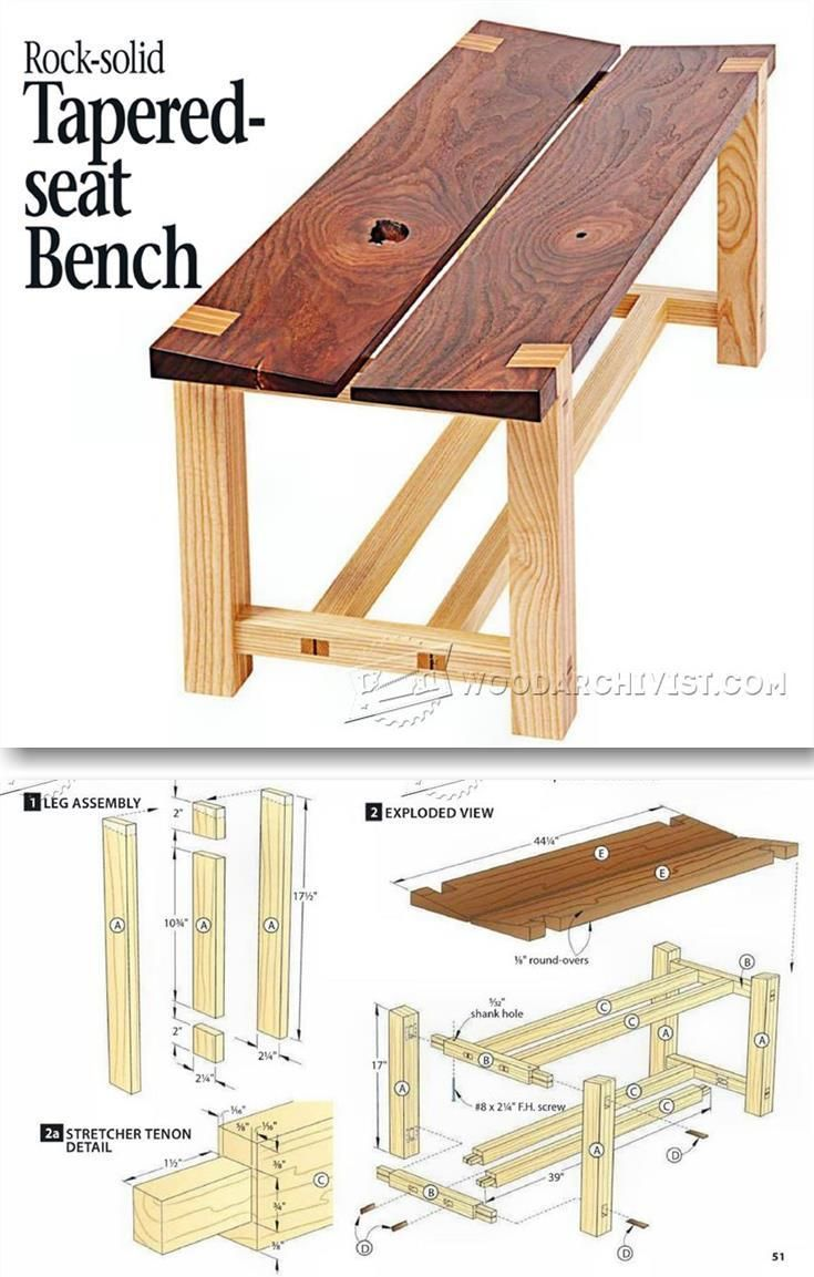 Outdoor furniture plans - Tapered Seat Bench Plans Outdoor Furniture Plans Projects Woodarchivist Com
