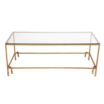 Costiera 130cm Rope Pattern Metal Coffee Table