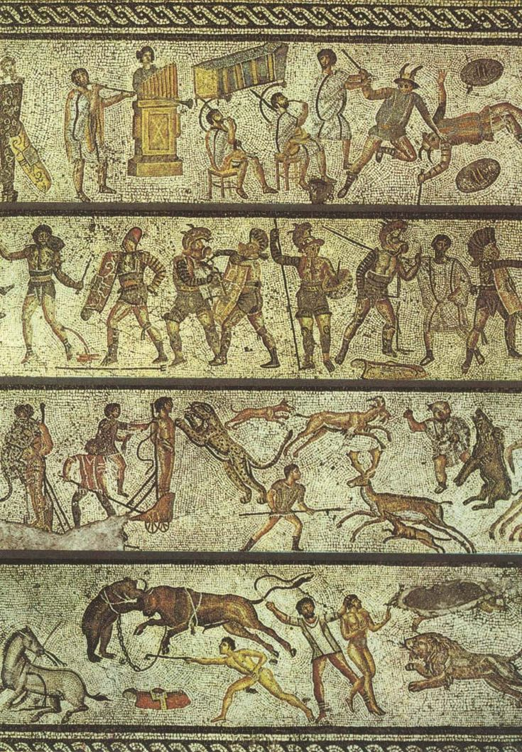 Gladiatori e Bestiari - This mosaic depicts some of the entertainments that would have been offered at the games.