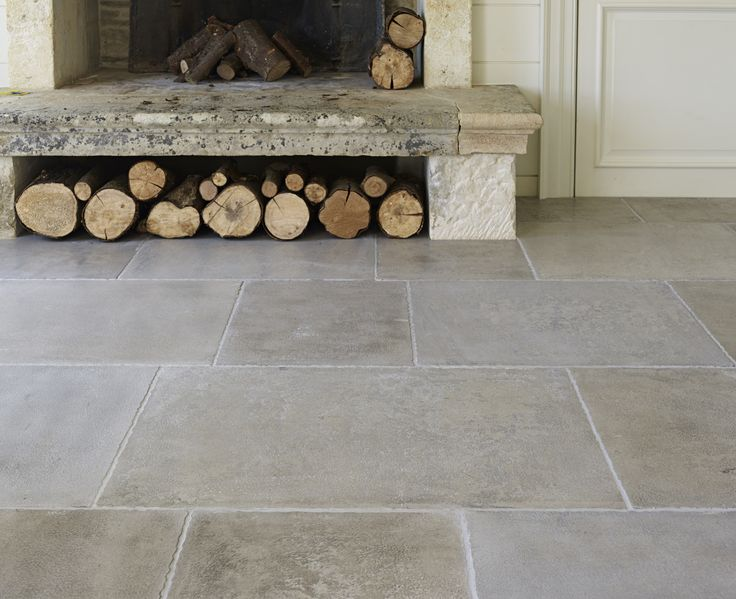 Geneva Provence Limestone. New for 2014. A soft grey limestone, hand-finished to recreate the look of a traditional antique stone floor. Mandarin Stone www.mandarinstone.com #grey #limestone #flooring #antique