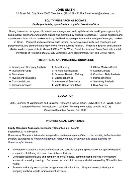 Research Resume Sample Equity Research Resume Sample Research
