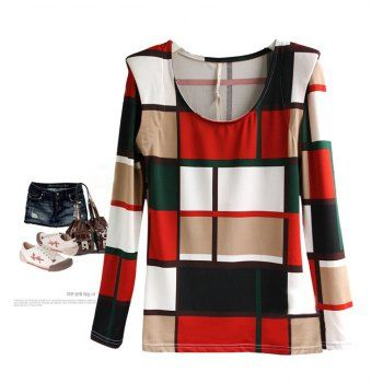 New Arrival Round Neck Color Match Block Shoulder Pads Design Long Sleeve Cotton T-Shirt For Women, AS THE PICTURE, FREE SIZE in Tees & T-Shirts | DressLily.com