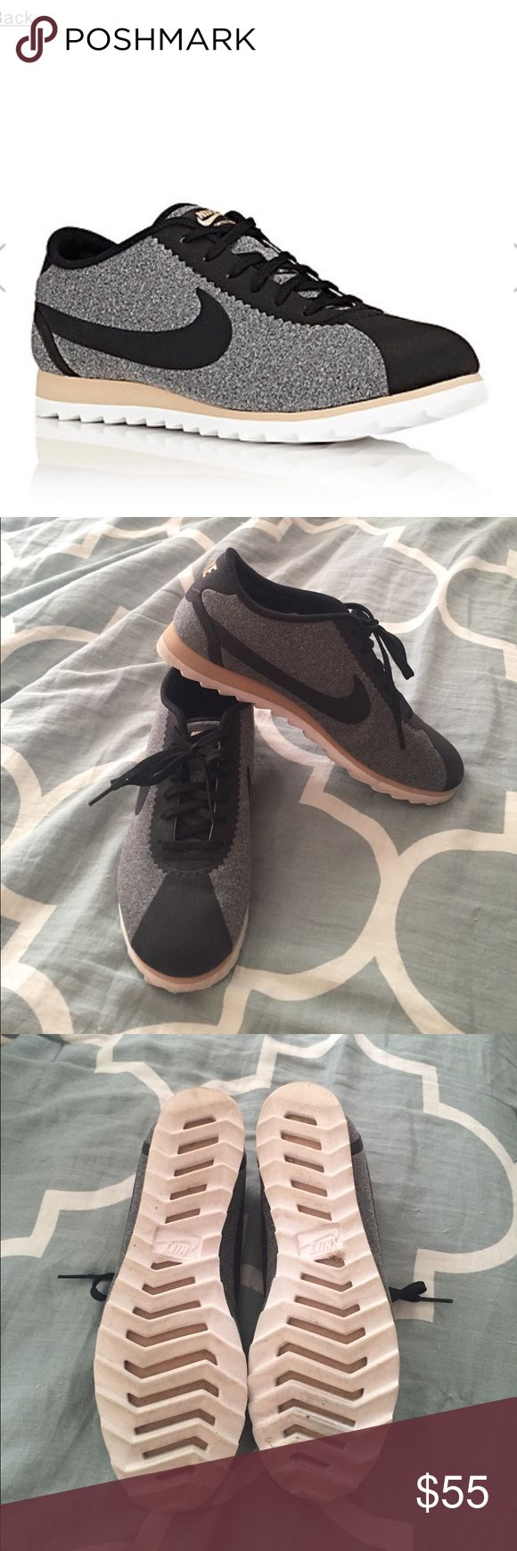 Nike cortez sneakers. Grey and black fabric low top sneakers. Size 7.5 and in excellent condition! Only worn a few times. Nike Shoes Sneakers