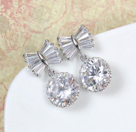 Bow Tie Bridal Earrings, Bridesmaids, Clear Round Cubic Zirconia Crystal Drop Earrings, Wedding Jewelry, www.glitzandlove.com