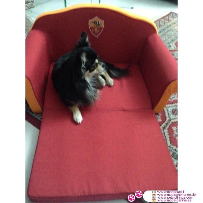 Cuccia a Divanetto della Roma per Cani Piccoli #ModaCani #Chihuahua - Cuccia a divanetto per cani e per gatti, prodotto ufficiale AS ROMA: ha un materassino che si allunga, trasformandola da divano a lettino; in 3 misure