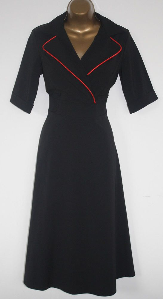 1950's Fit and Flare Dress Wrap Over Black Rockabilly Retro Vintage Size UK 10