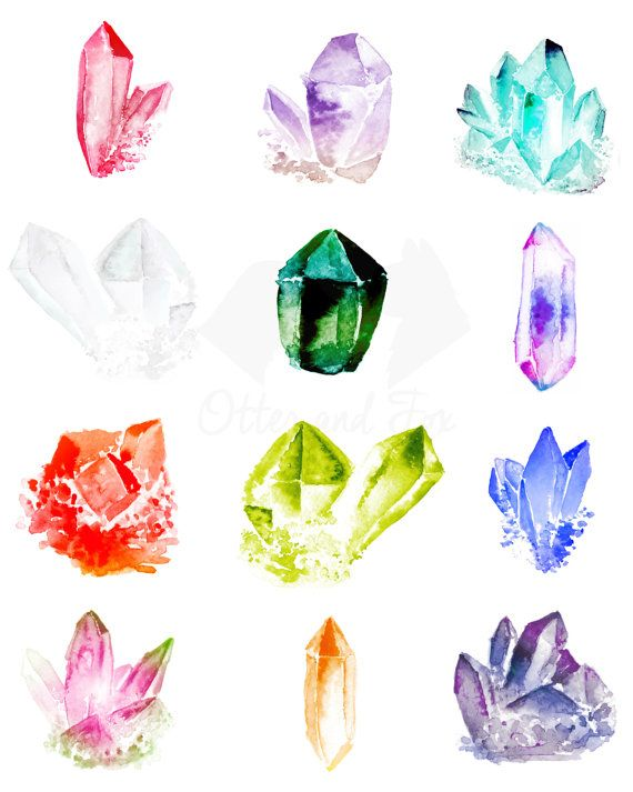°Watercolor Gemstones by OtterandFoxHome