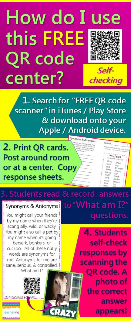 How do I use QR Code Centers? How To for quickly adding a QR code center to your classroom. Links to FREEBIE Synonyms and Antonyms QR code activity, so you can try using QR codes in your classroom for free! QR codes link to labeled photos of correct answers to make it self-checking. Perfect for iPad classrooms, BYOT, / BYOD, ELLs, and active students that need to move as they work! #Teachering