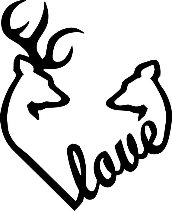 Deer and Doe Heart | Browning Love Heart Deer Buck and Doe vinyl decal